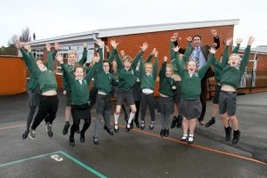 New classrooms were opened by Bishop of Crediton Revd Dame Sarah Mullally at St Peter's Primary School in Budleigh. Jumping for joy. Ref exb 05-16AW 8061. Picture: Alex Walton